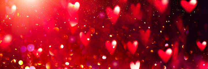 Valentine's Day red Background. Holiday Blinking Abstract Valentine Backdrop with Glowing Hearts. Heart Shape Bokeh. Love concept. Valentines art vivid design. Romantic banner