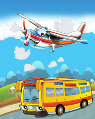 Recess Fitting Cars happy and funny cartoon bus looking and smiling driving through the city and plane flying - illustration for children