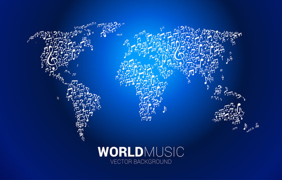 Vector world map from music melody note dancing flow. Concept background for world song and concert theme.