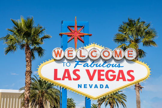The famous Welcome To Las Vegas sign at the entrance to Las Vegas, Nevada.