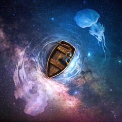 Little boy in fantasy boat