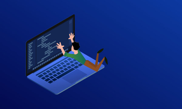 Web programmer hanging over laptop and codding