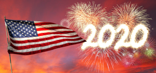 Happy New Year 2020 USA Flag With Fireworks