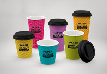 Hot Drink Cup Mockups in 6 Sizes