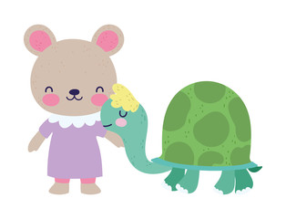 baby shower cute little female bear and turtle cartoon