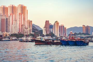 Ships in the port in Aberdeen Bay. Aberdeen. Hong Kong.