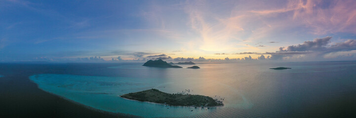 Aerial view majestic panorama sunrise in Maiga Sipadan island in Semporna, Sabah, Malaysia.