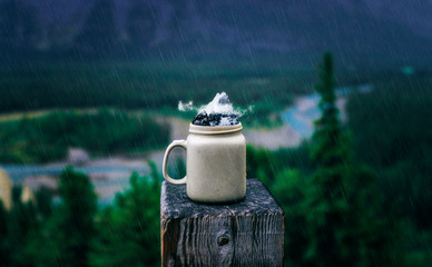 Peaks And Clouds Inside Mug Hipster Adventure Outdoors Conceptual Art