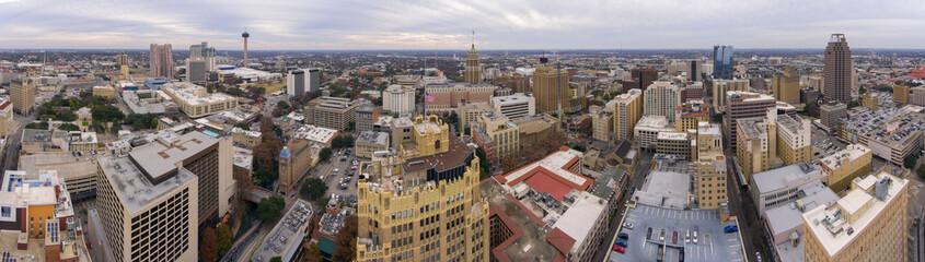 Aerial view of San Antonio downtown skyline including Tower Life Building and Tower of the Americas panorama, San Antonio, Texas, TX, USA.