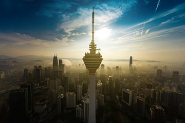 Fotorolgordijn Kuala Lumpur kuala lumpur with mega structures seen from aerial shot