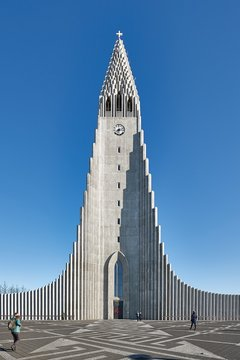 REYKJAVIK, ICELAND - MAY 05, 2018: Cathedral Hallgrimskirkja in Reykjavik Iceland clear blue sky background