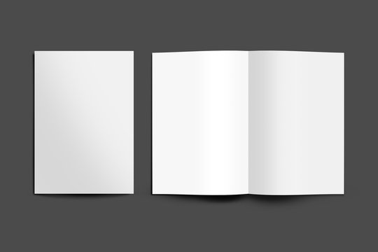 A3, A4, A5 half fold Blank open and close 3D illustration magazine mock-up with Cover, Book, Brochure, Pamphlet, Catalog, Catalogue empty mockup for Presentation on isolated Dark Grey background.
