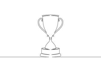 Continuous one drawn single line winning cup