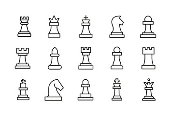 Stroke line icons set of chess. Wall mural
