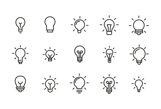 Stroke line icons set of bulb.
