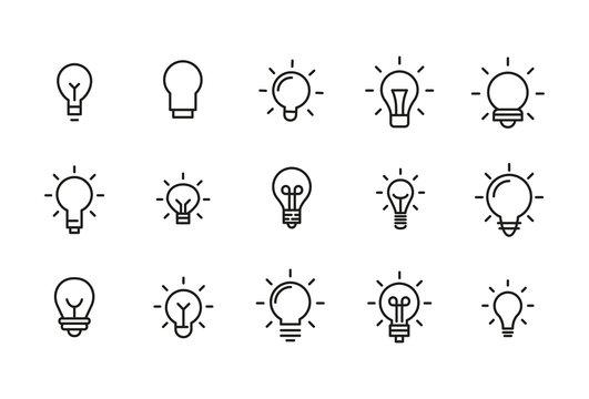 Stroke line icons set of bulb.
