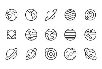 Stroke line icons set of planet. Fotomurales