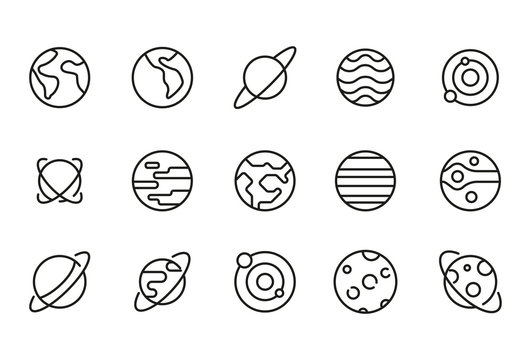 Stroke line icons set of planet.