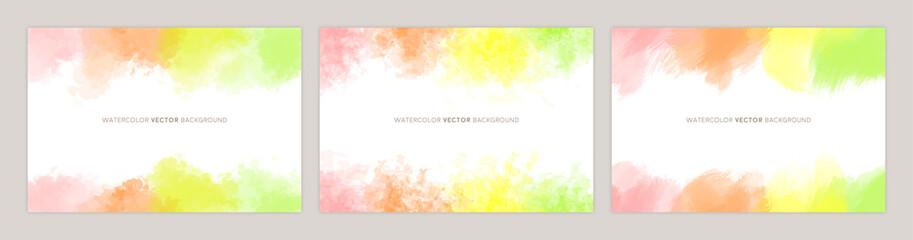 水彩カラフルフレーム:ピンク、オレンジ、黄色、黄緑 - fototapety na wymiar
