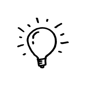 Doodle hand drawn light bulb icon with concept of idea. solution. isolated on white background. vector illustration