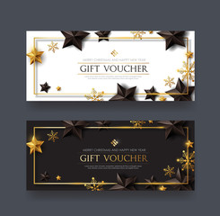 Christmas voucher with black gold stars and snowflake ,gift card,discount,coupon,Vector illustration.