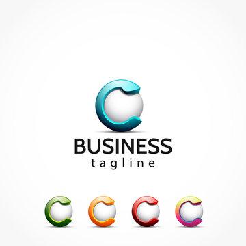 3d letter c alphabet logo initial