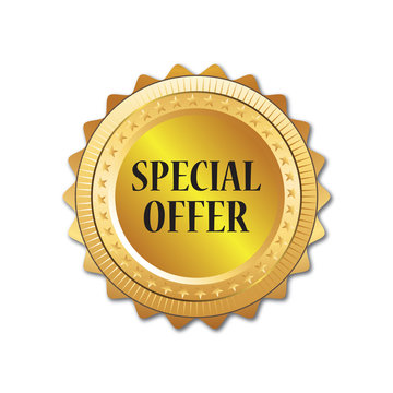 Special offer gold badge, Discount advertisement banner.