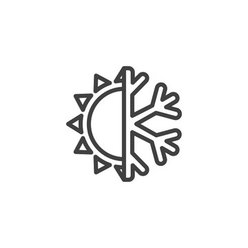 Conditioning system line icon. Sun and snowflake linear style sign for mobile concept and web design. Heat and cool outline vector icon. Climate control symbol, logo illustration. Vector graphics