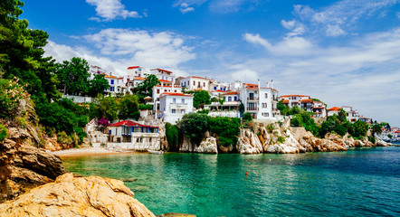 Old town view of Skiathos island, Sporades, Greece. Fototapete