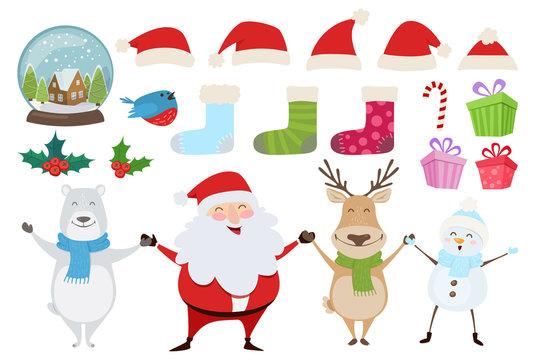 Set of Merry Christmas objects - snow globe, Santa hats, holly, bullfinch. Happy Santa Claus, Rudolph reindeer, Polar Bear, Snowman. Vector