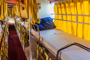 BHOPAL, INDIA - FEBRUARY 5, 2017: Interior of a sleeper bus in India