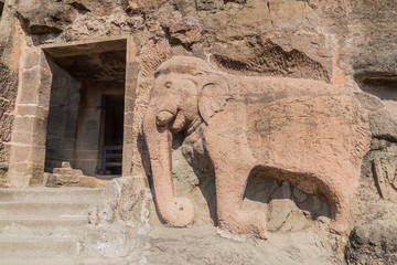 Elephant image carved into a cliff in Ajanta, Maharasthra state, India