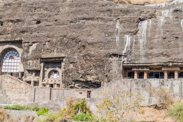 Buddhist caves carved into a cliff in Ajanta, Maharasthra state, India