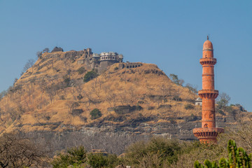 Daulatabad Fort and Chand Minar (Tower of the Moon), Maharashtra state, India