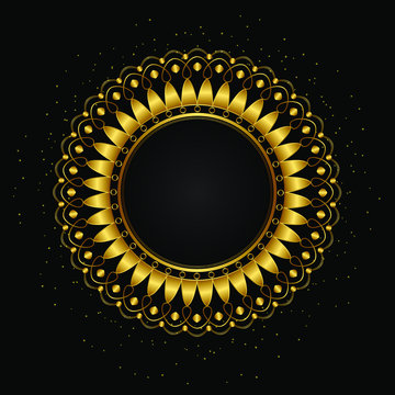 decorative round frames for design with gold luxury pattern. Golden circle frame. Template for printing postcards, invitations, books, textiles, engraving, forging, cover, label, logo, theme.