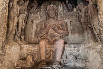 ELLORA, INDIA - FEBRUARY 7, 2017: Carvings at Das Avatara (Ten Incarnations of Vishnu) Cave in Ellora, Maharasthra state, India