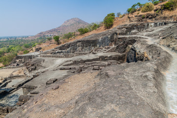Landscape around carved Kailasa Temple in Ellora, Maharasthra state, India