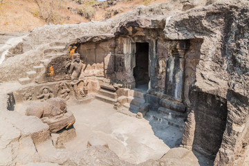 Small carved cave in Ellora, Maharasthra state, India