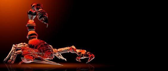 poisonous emperor scorpion of wildlife, 3d rendering of crystal glass coating in dark background