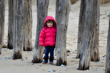 pretty girl on northern beaches in winter