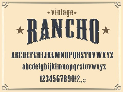 Wild West Western alphabet font vector design. Vintage type and typeface of capital and lowercase letters, numbers and punctuation marks, cowboy ranch, old American and Texas saloon themes
