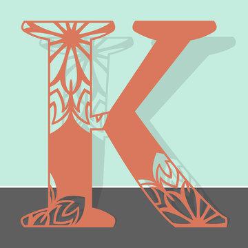 Laser cutting letter K. Woodcut vector design. Plywood lasercut gift. Pattern for printing, engraving, paper cut. Floral mandala design.