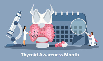 Thyroid Awareness Month is celebrated in January in USA. Hypothyroidism concept vector. Endocrinologists diagnose and treat human thyroid gland.