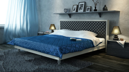 Double bed with blue quilt in the bedroom. 3 D objects.