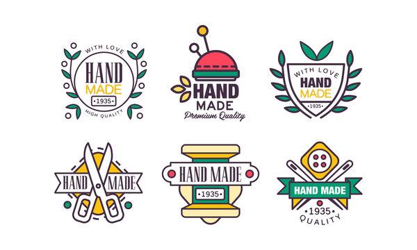Hand Made Needlework Badge and Logo Vector Set