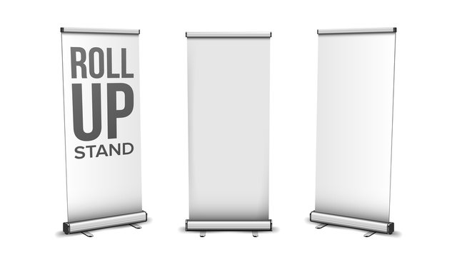 Roll Up Stand Collection In Different View Vector. Blank Vertical Stand, Commercial Advertising Or Promotion Banner, Presentation Empty Board Screen. Template Realistic 3d Illustration