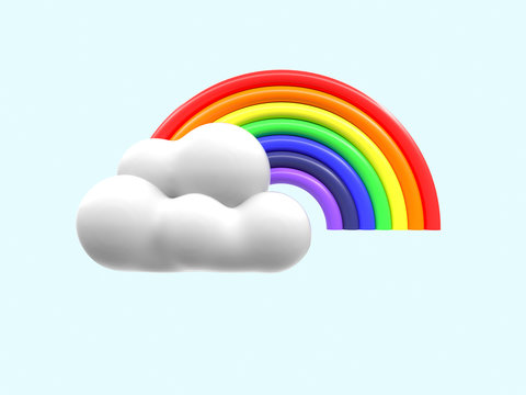 3d rendering cartoon style rainbow and cloud