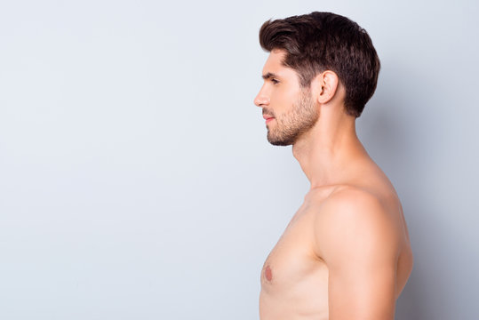 Close-up profile side view portrait of his he nice attractive content well-groomed calm brunette guy perfect smooth soft skin spa therapy isolated over light white grey color pastel background