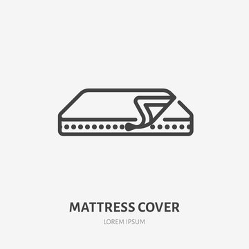 Mattress cover line icon, vector pictogram of covering. Bed linen, interior illustration, home textile sign