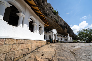 Exterior of Dambulla cave temple (Golden Temple) is a large cave-temple complex in Sri Lanka and world heritage site